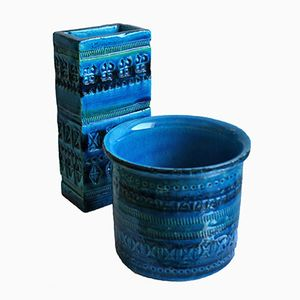 Blaues Keramik Set von Aldo Londi für Bitossi, 1960er