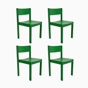 Grüne Mid-Century Esszimmerstühle von Carl Auböck für E. & A. Pollak, 4er Set