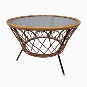 Vintage Wicker and Glass Coffee Table