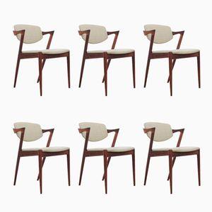 Modell 42 Rio Palisander Stühle von Kai Kristiansen für Schou Andersen, 1961, 6er Set