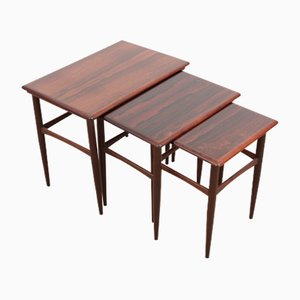 Scandinavian Nesting Tables in Rio Rosewood by Poul Hundevad, 1960s