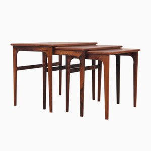 Mid-Century Modern Scandinavian Nesting Tables in Rio Rosewood, 1960s