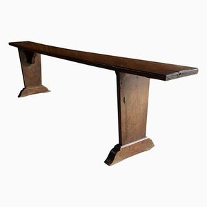 Vintage French School Bench in Solid Oak