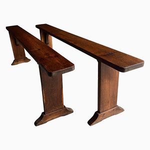 Antique French Benches in Pine, 1870s, Set of 2