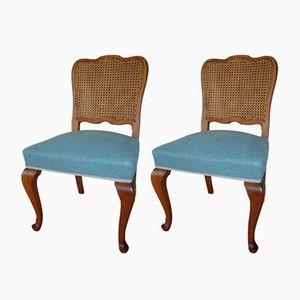 Stühle mit Geflochtenen Rückenlehnen, 1930er, 2er Set