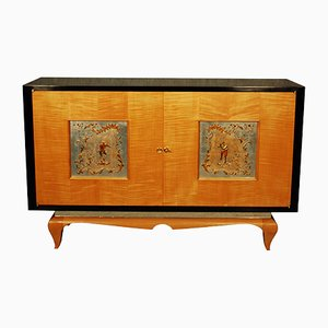 Vintage French Art Déco Sycamore Cabinet, 1940s