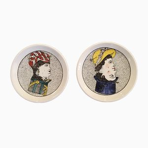 Vintage Italian Double Face Plates by Piero Fornasetti, 1950s, Set of 2