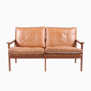 Vintage Brown Leather Capella Sofa by Illum Wikkelso for N. Eilersen