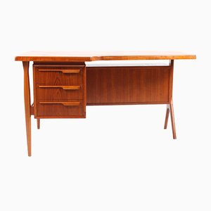 Danish Teak Desk with Drop-Door Cabinet, 1950s