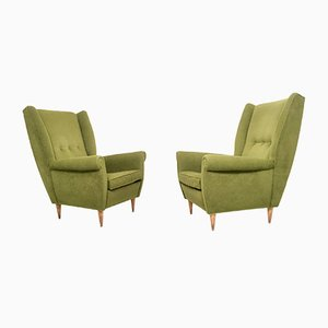 Olive Green Armchairs, 1950s, Set of 2