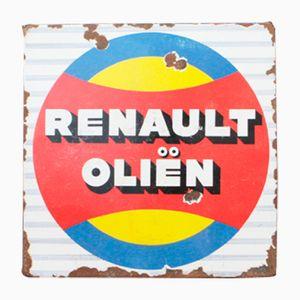 Vintage Enamel Renault Oil Sign, 1950s