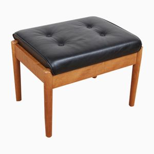 Mid-Century Modern Scandinavian Stool in Teak and Leather, 1970s