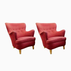 Vintage Armchairs by Carl Malmsten for O.H. Sjogren, Set of 2