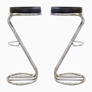 Mid-Century Modern Chrome Bar Stools, Set of 2
