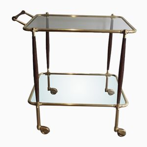 Italian Brass and Wood Trolley, 1950s