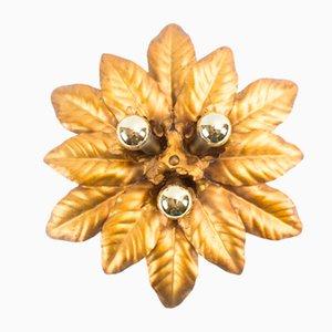 Goldene Florentiner Blätter Wandleuchte 1960er
