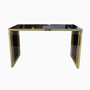 Black & Gold Glass Console, 1980s