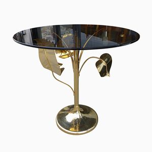 Gold & Smoked Glass Leaf Side Table, 1980s