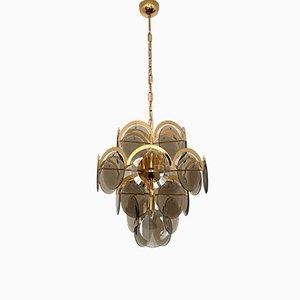 Große Vergoldete Lampe von Vistosi, 1960er