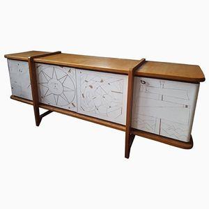 Sideboard in Oak & Engraved Plaster, 1950s