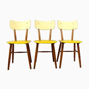 Vintage Yellow & Cream Chairs from Thonet, 1960s, Set of 3
