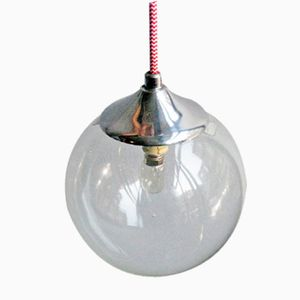 Vintage Glass and Chrome Pendant Lamp
