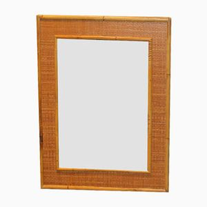 Vintage French Mirror with Bamboo Frame