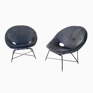 Blue Velvet Lounge Chairs by Augusto Bozzi for Saporiti, 1950s, Set of 2