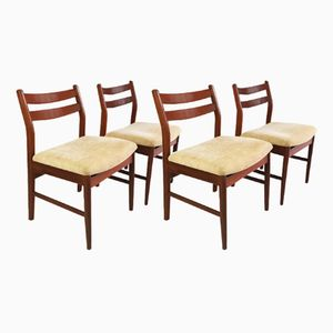 Vintage Dark Teak Dining Chairs, Set of 4