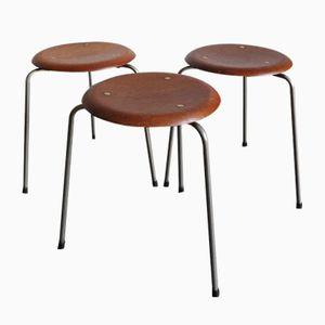 Vintage Teak Stools by Arne Jacobsen for Fritz Hansen, Set of 3