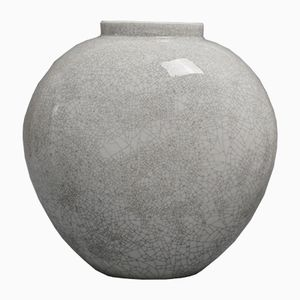 Vintage Grey Heart-Shaped Vase with Craquelure by Trude Petri for KPM
