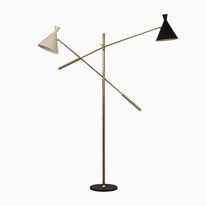 Large Mid-Century Italian Brass Floor Lamp
