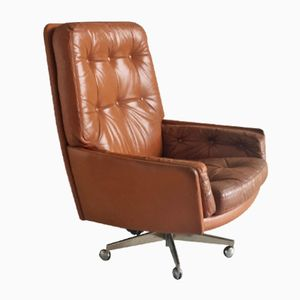 Vintage Brown Leather Armchair on Swivel Base with Castors