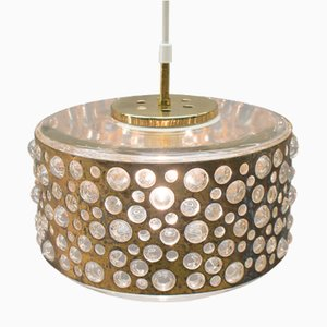 Mid-Century Bubble Glass & Brass Ceiling Lamp from Limburg