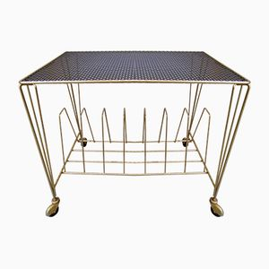 Vintage Side Table in Black and Gold Lacquered Perforated Metal