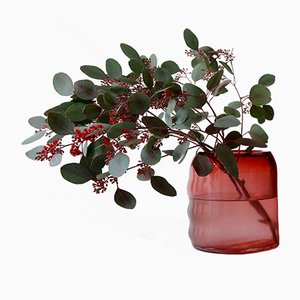 Petit Vase Raw en Verre Rouge Rubis par Milena Kling
