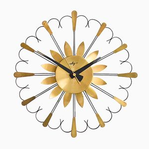 GDR Brass Starburst Wall Clock from EGB, 1960s