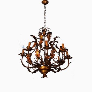Large Hollywood Regency Gilt Tole Chandelier with 8 Lights, 1970s