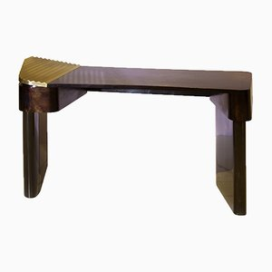 Polished Brass and Wood Veneer Moon Desk by SORS Privatiselectionem, 2017