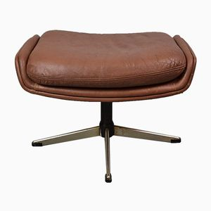 Danish Brown Leather Footstool by Georg Thams for Vejen Polstermøbelfabrik, 1970s
