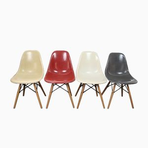 Vintage DSW Fiberglass Chairs by Charles & Ray Eames for Herman Miller, Set of 4