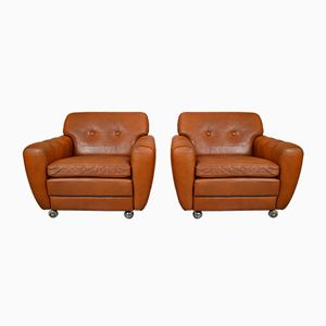 Danish Tan Leather Club Chairs by Svend Skipper for Skippers Mobler, 1970s, Set of 2