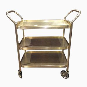 Mid-Century Gold-Colored Three-Tier Tea Trolley from Sylvan, 1960s