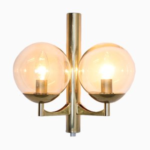 Vintage Wall Light in Brass with Smoked Glass Globes