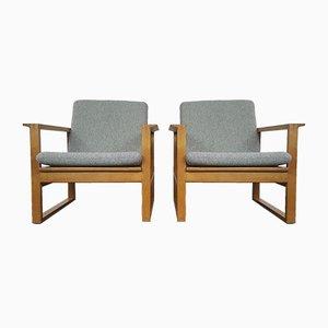2256 Eiche Schlittengestell Sessel von Børge Mogensen für Fredericia Stolefabrik, 1956, 2er Set