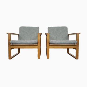 2256 Oak Lounge Sled Chairs by Børge Mogensen for Fredericia Stolefabrik, 1956, Set of 2