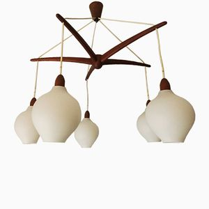 Swedish Cascading Teak & Opaline Glass Chandelier, 1960s