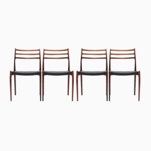 Modell 78 Palisander Stühle von Niels O. Møller für J.L. Møllers, 1960er, 4er Set