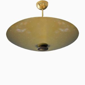 Large Mid-Century Modern Round Perforated Metal Ceiling Lamp