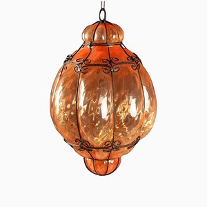 Italian Cage Art Glass Pendant Lamp from Seguso, 1960s